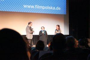 Die polnische Regisseurin Agniezska Holland auf der Bühne (Mitte). © Natalie Junghof