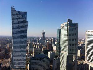 Warschauer Wolkenkratzer, fotografiert von der Aussichtsplattform des Kulturpalastes. © Rebecca Räpple
