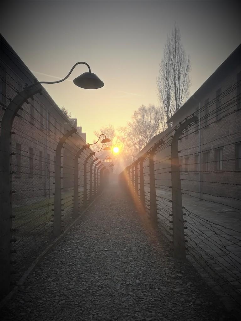 Sonnenuntergang zwischen den Blöcken des ehemanligen KZ Auschwitz-Birkenau. © René Wennmacher